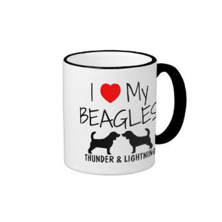 Custom I Love My Beagles Ringer Mug