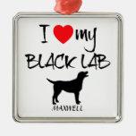 Custom I Love My Black Lab Christmas Ornaments