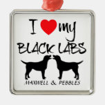 Custom I Love My Black Labs Christmas Tree Ornaments