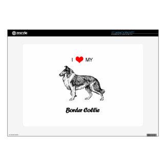 "Custom I Love My Border Collie Dog Heart 15"" Laptop Skins"