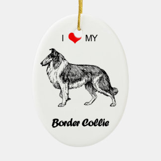 Custom I Love My Border Collie Dog Heart Ceramic Ornament
