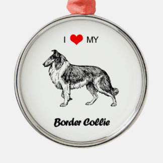 Custom I Love My Border Collie Dog Heart Metal Ornament