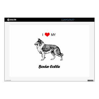 """Custom I Love My Border Collie Dog Heart Skin For 17"""" Laptop"""