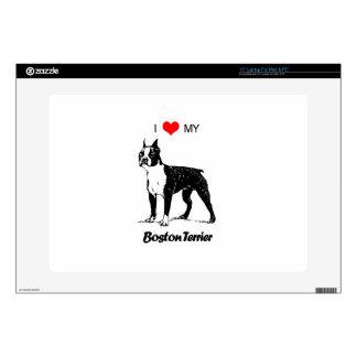"""Custom I Love My Boston Terrier Dog Heart 15"""" Laptop Skins"""