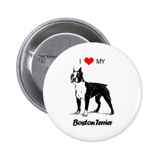 Custom I Love My Boston Terrier Dog Heart Button