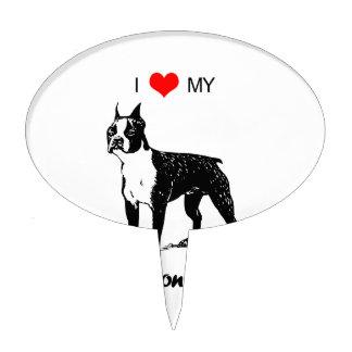 Custom I Love My Boston Terrier Dog Heart Cake Topper