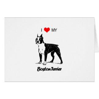 Custom I Love My Boston Terrier Dog Heart Card
