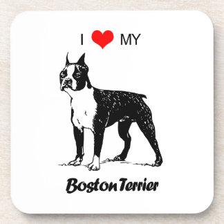 Custom I Love My Boston Terrier Dog Heart Drink Coaster