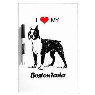 Custom I Love My Boston Terrier Dog Heart Dry-Erase Board