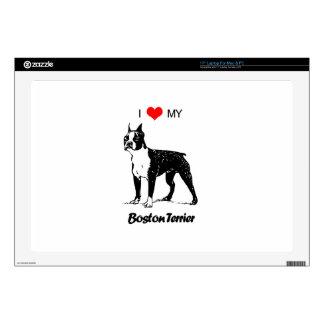 Custom I Love My Boston Terrier Dog Heart Laptop Skins