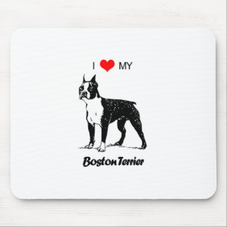 Custom I Love My Boston Terrier Dog Heart Mouse Pad
