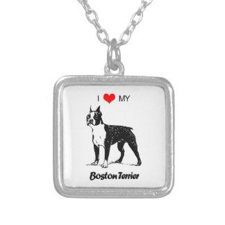 Custom I Love My Boston Terrier Dog Heart Square Pendant Necklace