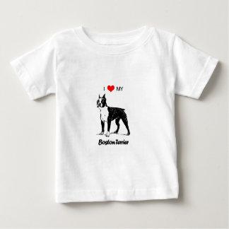 Custom I Love My Boston Terrier Dog Heart T-shirt