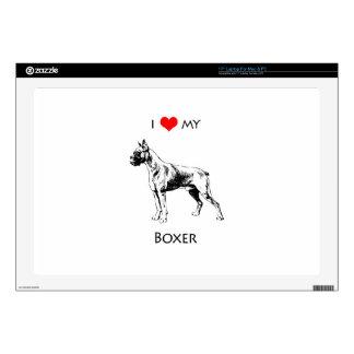 """Custom I Love My Boxer Dog Heart 17"""" Laptop Skins"""