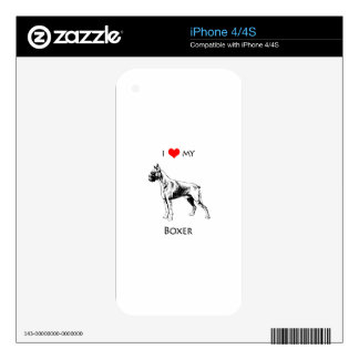 Custom I Love My Boxer Dog Heart Skin For iPhone 4S