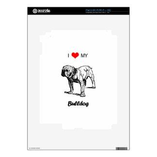Custom I Love My Bulldog Heart Skin For iPad 2