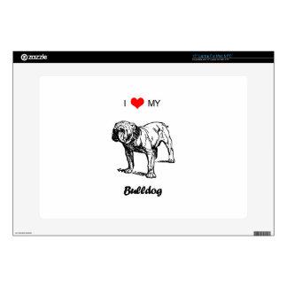 """Custom I Love My Bulldog Heart Skins For 15"""" Laptops"""