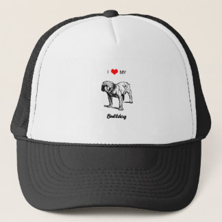 Custom I Love My Bulldog Heart Trucker Hat