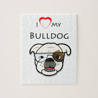 Custom I Love my Bulldog Jigsaw Puzzle