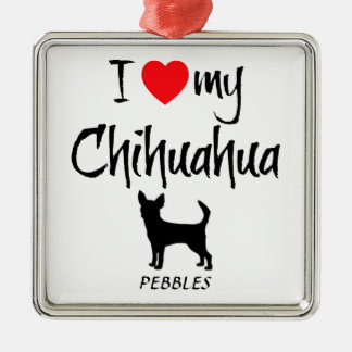Custom I Love My Chihuahua Square Metal Christmas Ornament