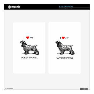 Custom I Love My Cocker Spaniel Dog Skins For Kindle Fire