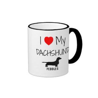 Custom I Love My Dachshund Ringer Coffee Mug