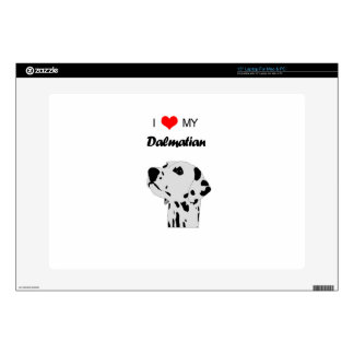 "Custom I Love My Dalmatian Dog Heart 15"" Laptop Skins"
