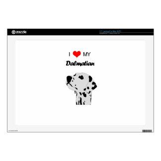 "Custom I Love My Dalmatian Dog Heart Decal For 17"" Laptop"