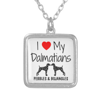 Custom I Love My Dalmatians Silver Plated Necklace