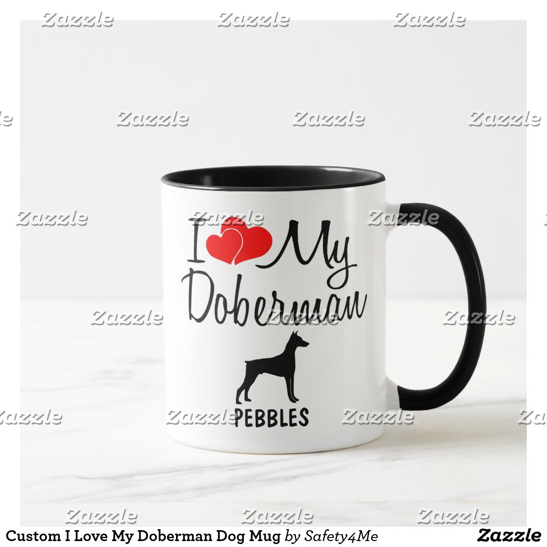 Custom I Love My Doberman Dog Mug