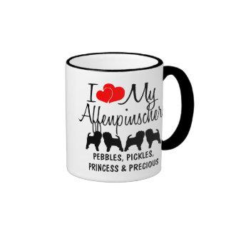 Custom I Love My Four Affenpinschers Ringer Coffee Mug
