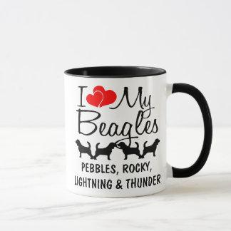 Custom I Love My Four Beagles Mug