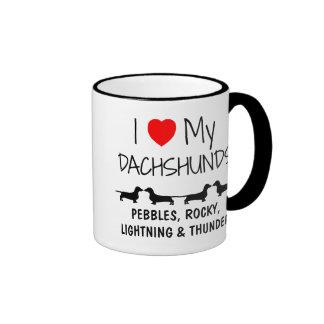 Custom I Love My Four Dachshunds Ringer Mug
