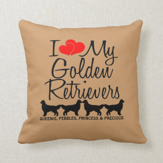 Custom I Love My Four Golden Retrievers Throw Pillow
