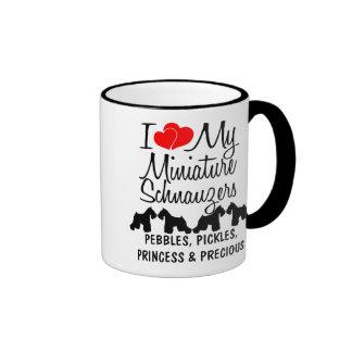 Custom I Love My Four Miniature Schnauzers Mug