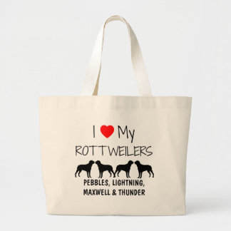 Custom I Love My Four Rottweilers Large Tote Bag