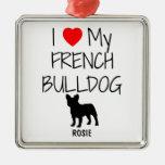 Custom I Love My French Bulldog Christmas Tree Ornaments