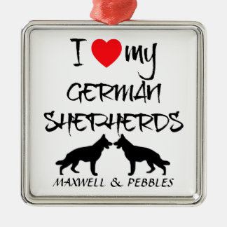 Custom I Love My German Shepherd Square Metal Christmas Ornament