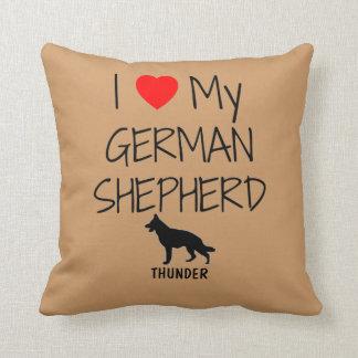 Custom I Love My German Shepherd Throw Pillow