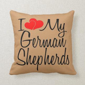 Custom I Love My German Shepherds Throw Pillow