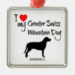 Custom I Love My Greater Swiss Mountain Dog Square Metal Christmas Ornament