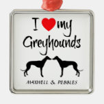 Custom I Love My Greyhound Dogs Square Metal Christmas Ornament