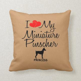 Custom I Love My Miniature Pinscher Throw Pillow