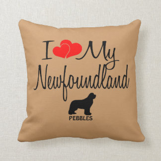 Custom I Love My Newfoundland Throw Pillow