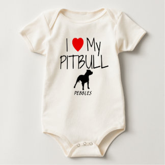 Custom I Love My Pitbull Baby Bodysuit