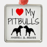 Custom I Love My Pitbulls Christmas Ornaments