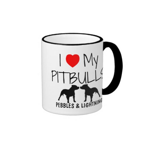 Custom I Love My Pitbulls Ringer Coffee Mug