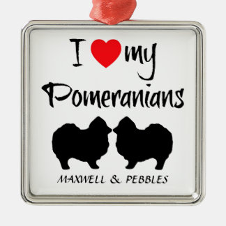 Custom I Love My Pomeranians Square Metal Christmas Ornament