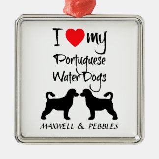 Custom I Love My Portuguese Water Dogs Square Metal Christmas Ornament