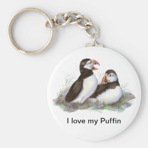"Custom ""I love my Puffin"", Cute Watercolor Puffins Keychain"